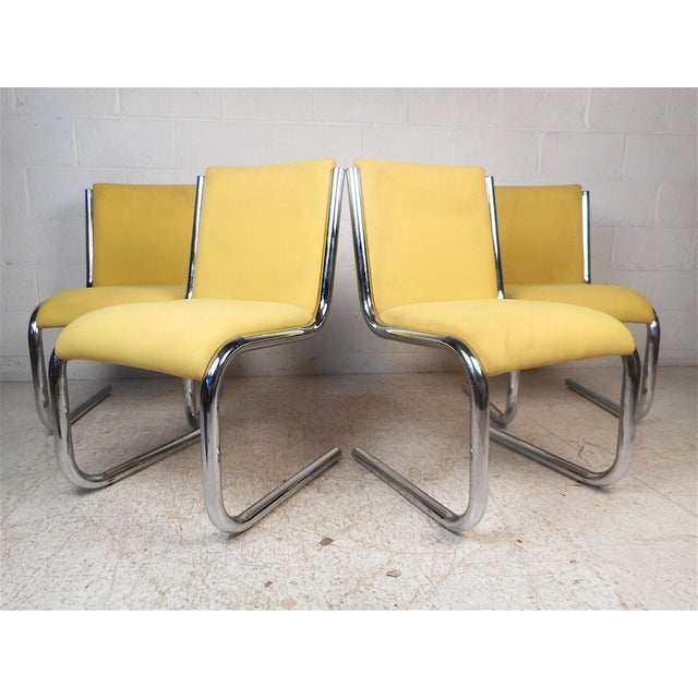 Midcentury Chrome Cantilevered Chairs, Set of 4 For Sale - Image 13 of 13
