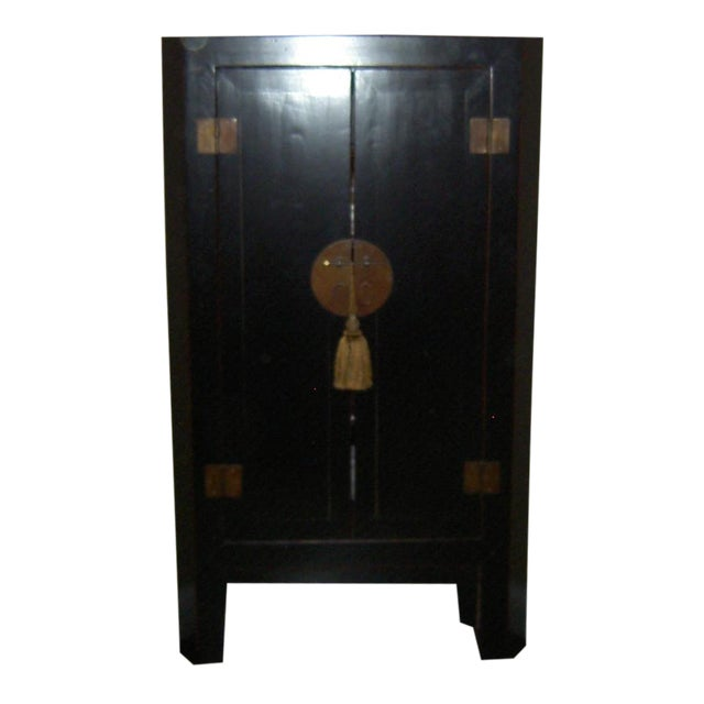 Black Lacquer Asian Corner Cabinet Side Table - Image 1 of 7