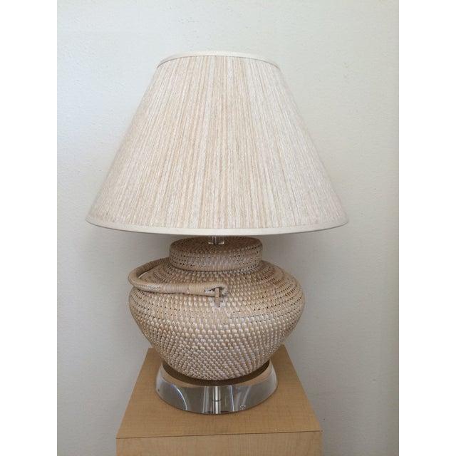 Richard Lindley Rattan Basket Lamp - Image 5 of 9