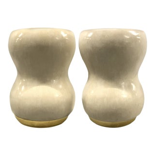 Contemporary Curvilinear Stools on Gold Base — a Pair For Sale