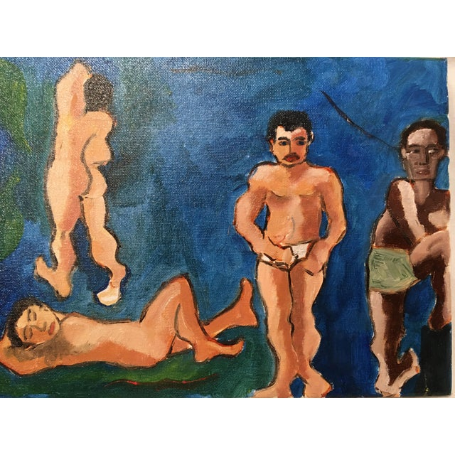 """""""The Bath House"""" Original Vintage Oil on canvas painting- Artist Unknown. Features colors of blue and green."""