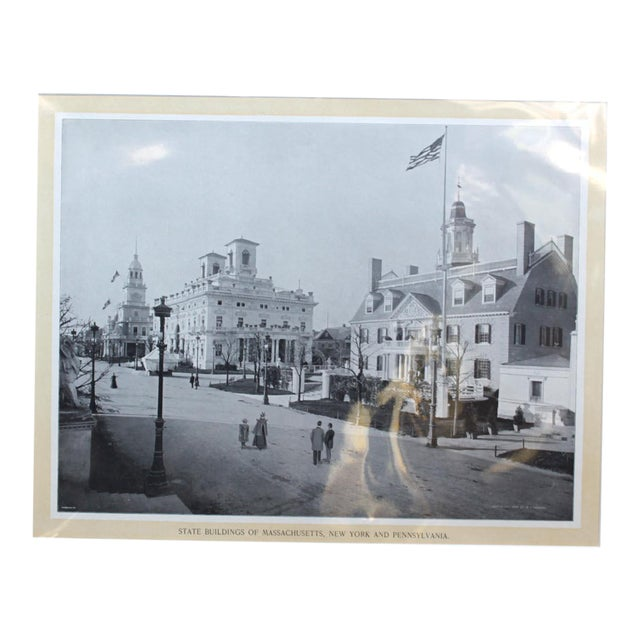 1895 World's Fair Print (State Buildings of Mass, NY, Penn) For Sale
