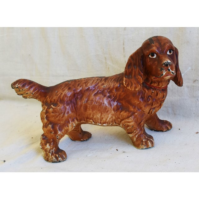 Charming Vintage Cast Iron Dog Figure Doorstop For Sale - Image 9 of 12