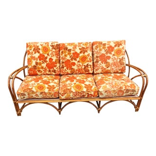 Mid Century Modern Boho Chic Bamboo Sofa For Sale