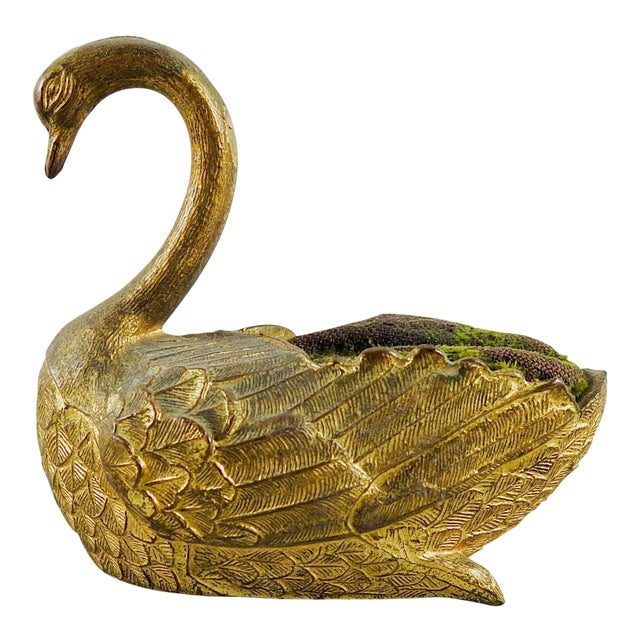 Antique Metal Swan Pin Cushion For Sale