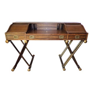 Oxford Square by Drexel Faux Brass Leg Campaign Style Tambour Roll Top Desk For Sale