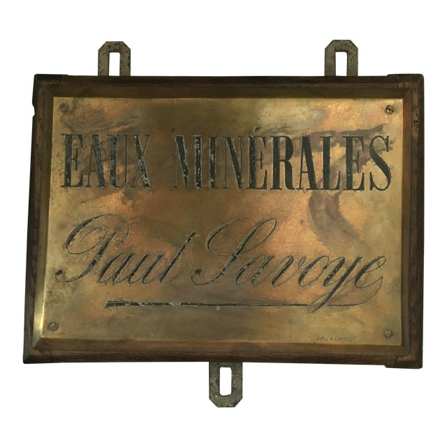 French Faux Minerales Mineral Water Advertising Sign For Sale