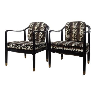 Lacquered Black and Brass Leopard Lounge Chairs after John Stuart - Pair For Sale