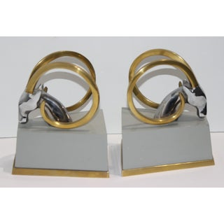 Art Deco Revival Gazelle Brass & Wood Bookends - a Pair Preview