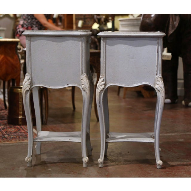 Pair of 19th Century French Louis XV Carved Painted Nightstands With Marble Top For Sale - Image 11 of 12