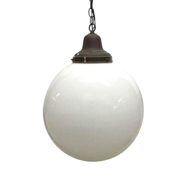 Large Round Milk Glass Globe Pendant Light