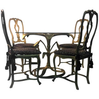 GREAT ARTHUR COURT GILDED TIGER LILY DINING TABLE WITH FOUR CHAIRS For Sale