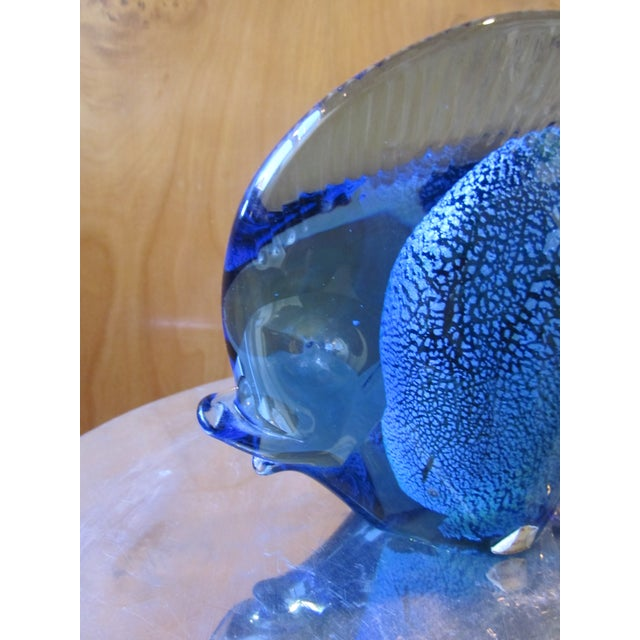 1960s Murano Glass Italian Art Glass Blue and Red Figural Fish Sculpture Object For Sale - Image 10 of 11
