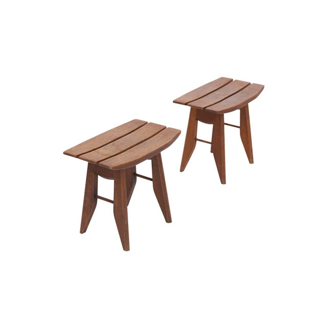 Pair of tabourets in oak by Guillerme et Chambron for Votre Maison, French, 1960s These stools have a japonesque inspired...
