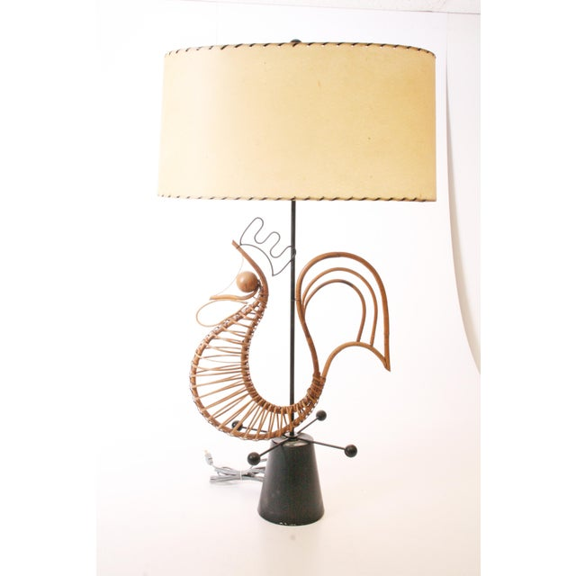Vintage Table Lamp by Frederick Weinberg. Beautiful wicker sculptural rooster. Original black paint. Tested and works...