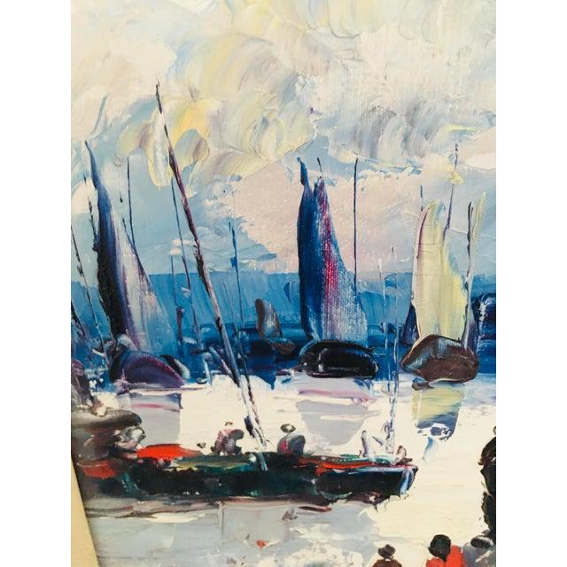 Mid Century Impressionist Oil on Canvas Harbor Scene For Sale - Image 10 of 12