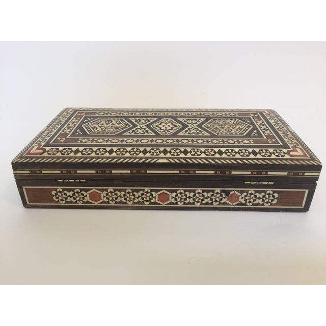 Mid 20th Century Syrian Inlay Jewelry Wooden Box For Sale - Image 5 of 10
