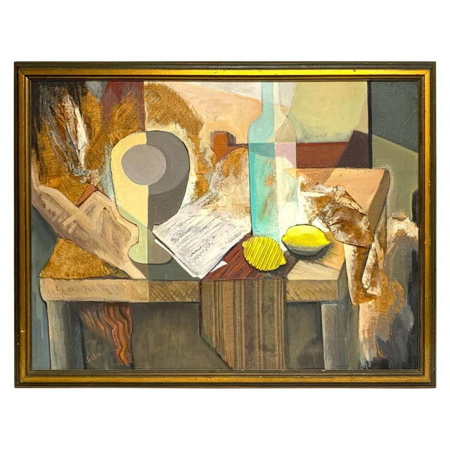 Mid-Century Mixed-Media Cubist Still Life Oil on Canvas For Sale - Image 11 of 11
