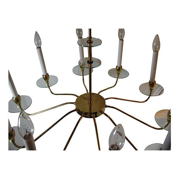 Brass & Glass 10 Light Chandelier For Sale - Image 4 of 5