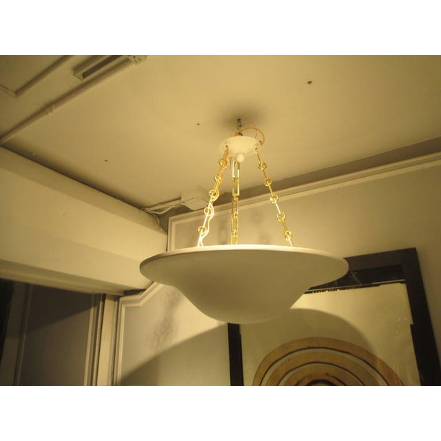 Mid-Century Modern Custom Plaster Chandelier with Brass Chain For Sale - Image 3 of 7