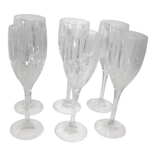 Contemporary Mikasa Uptown Cut Crystal Lovely Wine Glasses - Set of 6 For Sale