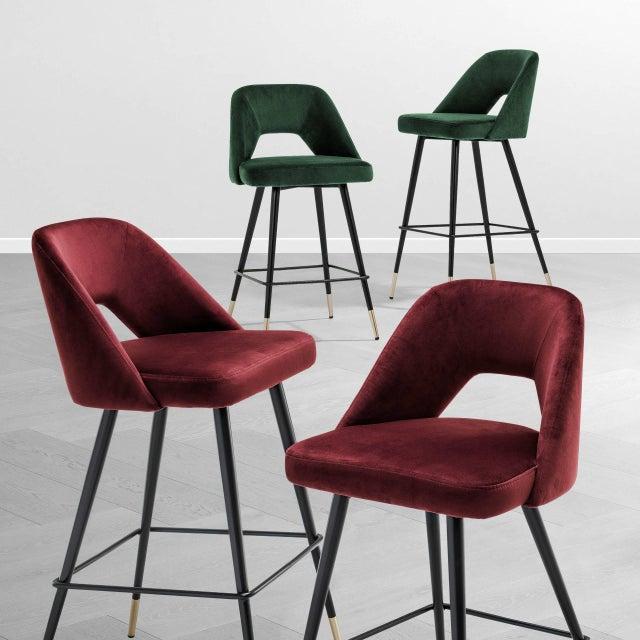 Green Velvet Bar Stool | Eichholtz Avorio For Sale - Image 4 of 9