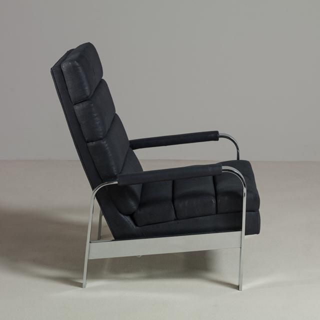 A chromium steel framed reclining armchair, 1970s fully rebuilt and reupholstered by Talisman. Available as a pair or...