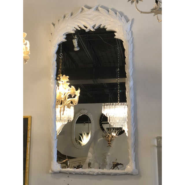 1970s Vintage Hollywood Regency White Lacquered Leaf Wall Mirror For Sale - Image 5 of 11
