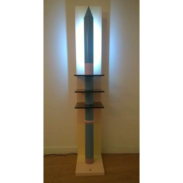 Blue 1980s Sculptural Rocket Shaped Floor Lamp For Sale - Image 8 of 11
