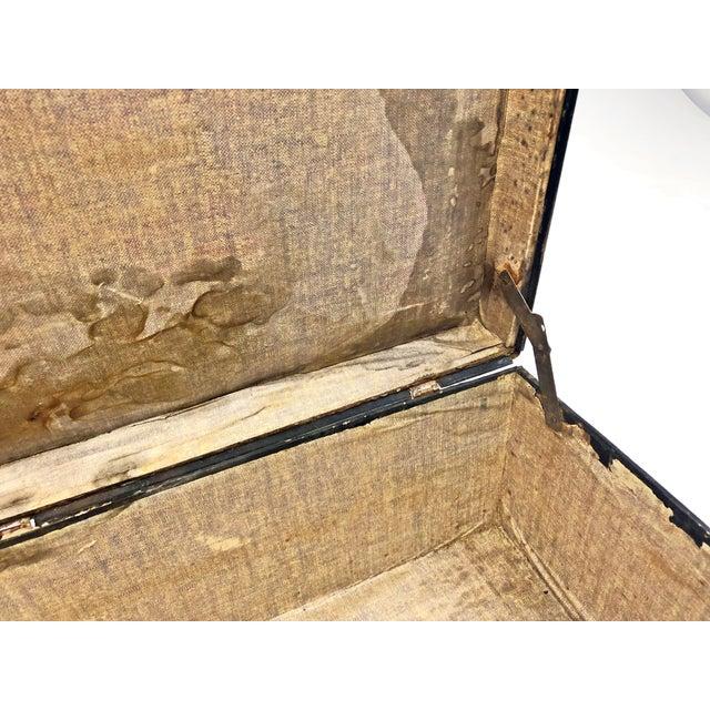 Vintage Distressed Black Metal Storage Trunk For Sale - Image 11 of 13
