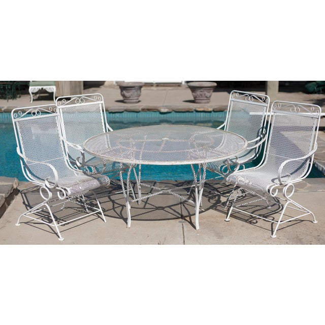 Vintage Patio Mesh Table & Bouncer Chairs - S/5 - Image 2 of 7