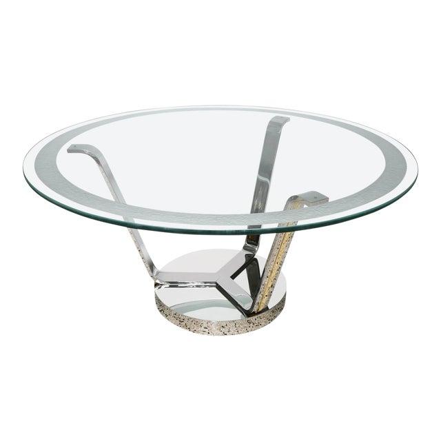 Art Deco Revival Round Dining or Center Table, Chrome & Brass, by Karl Springer For Sale