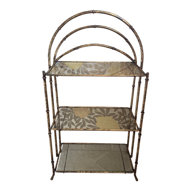 Gilt Metal Faux Bamboo Etagere For Sale