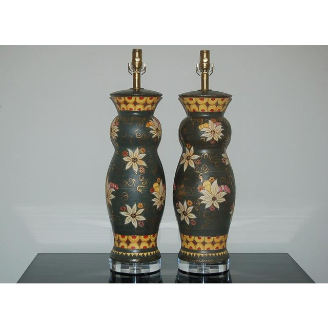 Imported from the province of Deruta in the 1960's, these vintage Italian monumental hand painted CHARCOAL ceramic lamps...