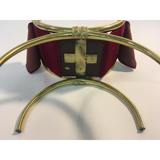 Stunning Italian Modernist Polished Brass Vanity Stool For Sale In Philadelphia - Image 6 of 7