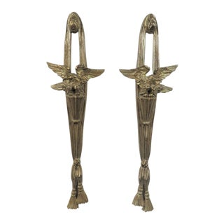 Italian Silver Gilt Carved Eagle Sconces- a Pair For Sale