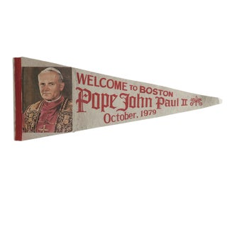 Vintage Welcome to Boston Pope John Paul II Felt Flag Pennant For Sale