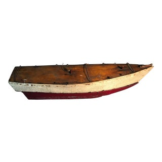 Early 1890s Antique Wood Pond Boat Yacht Toy Model For Sale