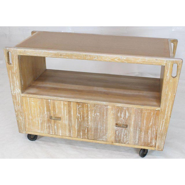 1970s Arts & Crafts Adze Cut Ceruised Oak Finish Serving Cart Bar on Wheels For Sale - Image 9 of 12