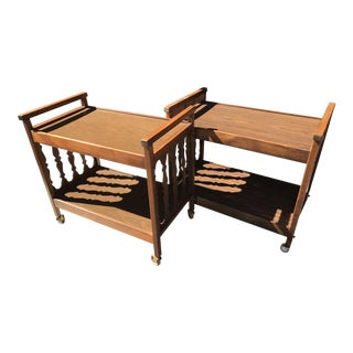 Vintage Wooden Bar Carts - A Pair