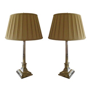 Pair of English Corinthian Column Silver Lamps For Sale