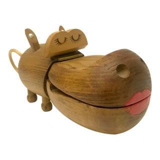 Denmark Teak Hippo Trinket Box