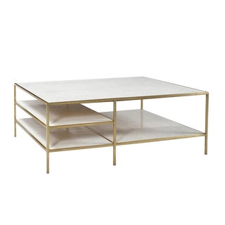 Marble & Brass Coffee Table W/Shelves For Sale