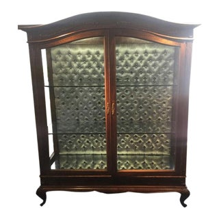 Queen Anne Style Wood China Glass Front Silver Satin Tufted Back Curved Wood Display Cabinet Unit For Sale