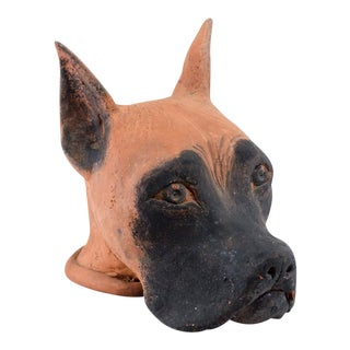 "Early 20th Century Antique ""Lady"" Clay Dog Head Sculpture For Sale"
