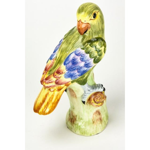English 1970s Chelsea House Ceramic Green Parrots Italy - a Pair For Sale - Image 3 of 8