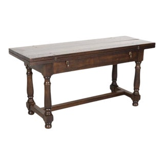 19th Century French Louis Philippe Style Portefeuille or Flip Top Pantry Table For Sale