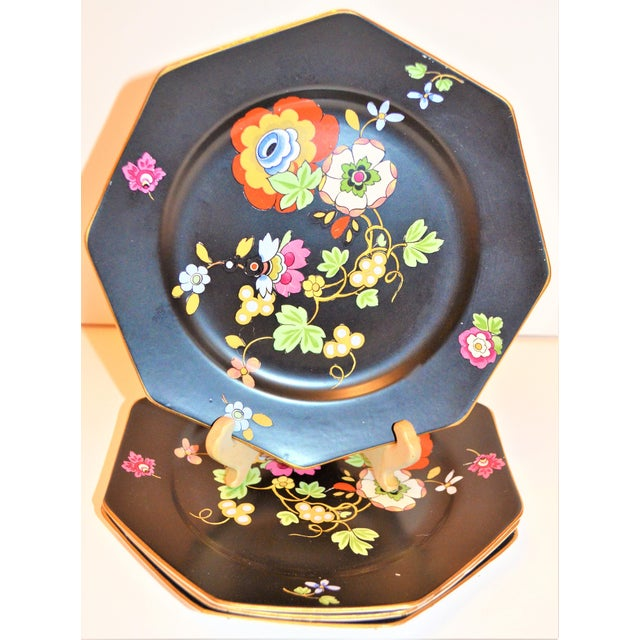 English 1920s Antique Art Deco Black and Floral Plates - Set of 4 For Sale - Image 3 of 12