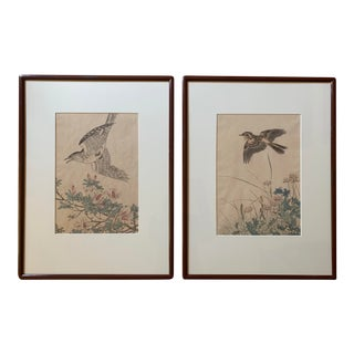 1891 Antique Imao Keinen Keinen Gafu Four Seasons 'Spring & Summer' Signed Woodblock Prints - A Pair For Sale