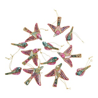 Mirrored Bird Christmas Ornaments - Set of 12 For Sale
